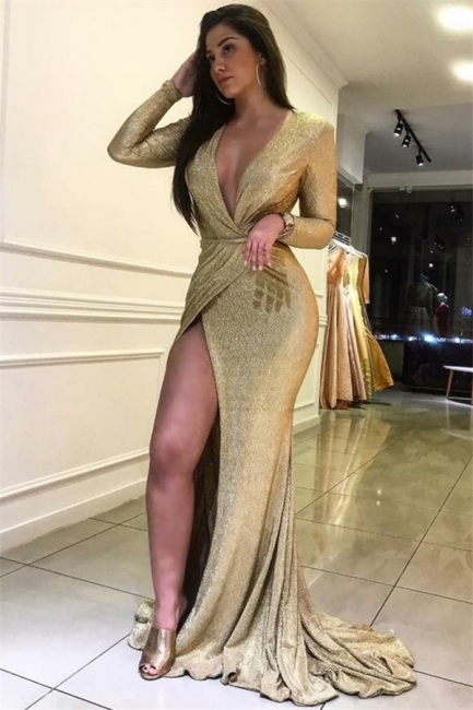 Sexy Mermaid Fit and Flare Deep V-Neck Long-Sleeves Front-Slipt Prom Dress UK