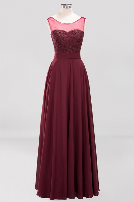 A-Line Chiffon Tulle Lace Beadings Jewel Teenage Floor-Length Bridesmaid Dresses with Sash   Suzhoudress UK