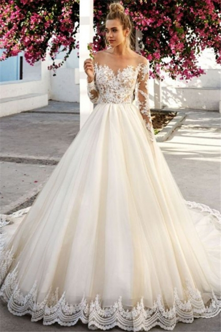 Off-the-Shoulder A-Line Long Sleeves Appliques Wedding Dress | Bridal Gowns On Sale