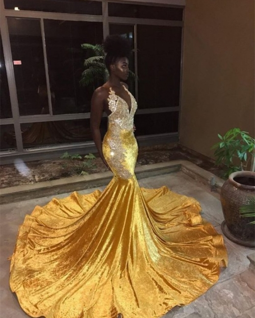 Elegant Womens V-Neck Teenage Sexy Trumpet/Mermaid Appliques Yellow Online Prom Dress Sale | Suzhoudress UK