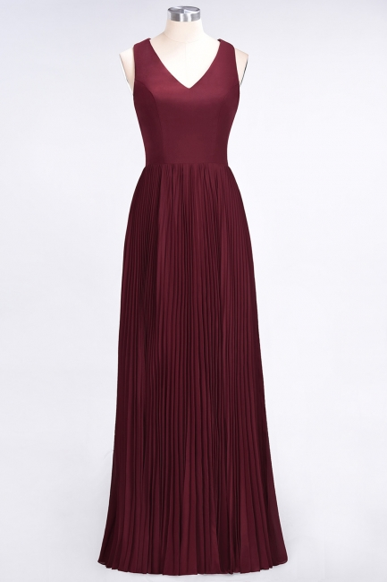 A-line Satin Chiffon V-Neck Summer Floor-Length Bridesmaid Dress UK with Ruffles