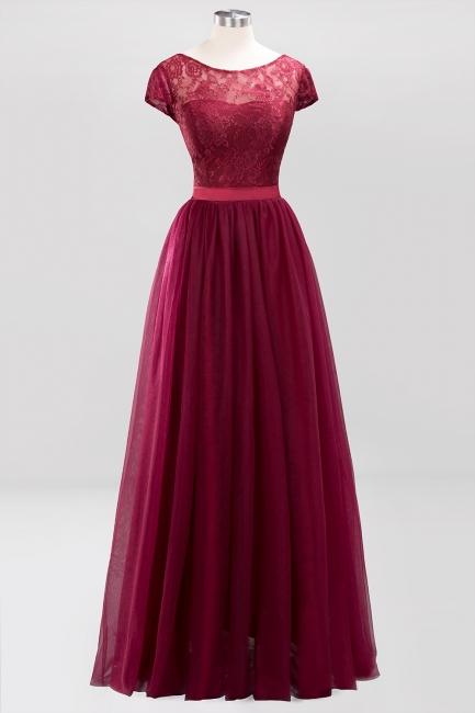 A-Line Chiffon Jewel Teenage Floor-Length Bridesmaid Dresses with Ruffles | Suzhoudress UK