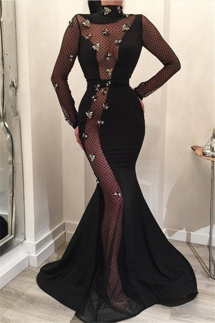 Mermaid Fit and Flare High-Neck Long-Sleeves Long Prom Dress UK