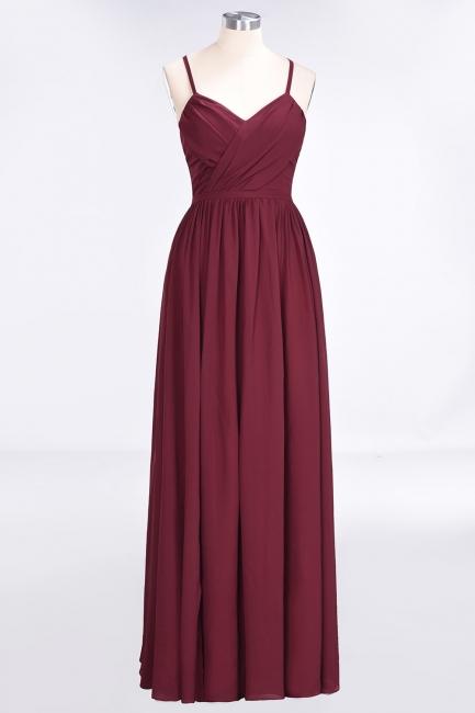 A-line Chiffon Spaghetti-Straps V-Neck Summer Floor-Length Bridesmaid Dress UK with Ruffles