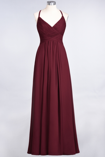 A-line Chiffon Spaghetti-Straps V-Neck Summer Floor-Length Bridesmaid Dress UK with Ruffles