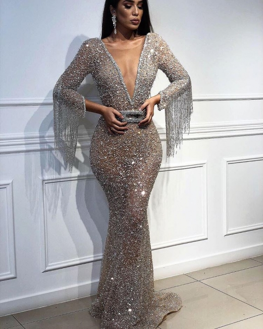 Sexy Trumpet/Mermaid Tulle Shining Sequins Womens Plunge V-Neck 3/4 Sleeves Floor-Length Online Prom Dress Sale with Tassels | Suzhoudress UK