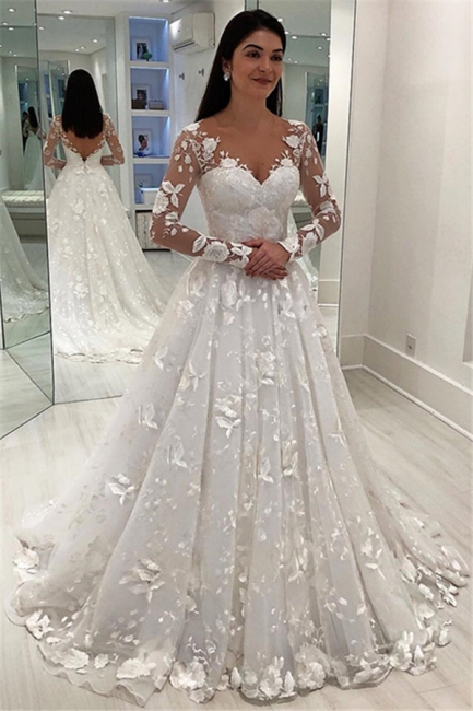 Chic Appliques V-Neck A-Line Long Sleeves Wedding Dress   Bridal Gowns On Sale