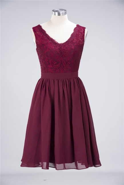 A-line Chiffon Simple Lace V-Neck Summer Knee-Length Bridesmaid Dress UK with Ruffles