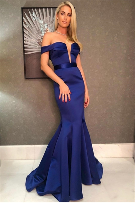 Sexy Mermaid Fit and Flare Off-the-Shoulder Deep-V-Neck Long Prom Dress UK