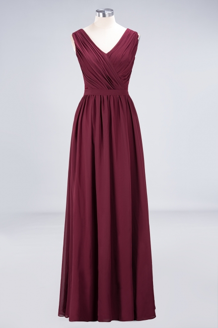 A-line Chiffon Simple Lace V-Neck Summer Floor-Length Bridesmaid Dress UK with Ruffles