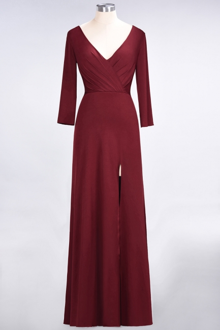 A-line Spandex V-Neck Long-Sleeves Side-Slit Floor-Length Bridesmaid Dress UK with Ruffles