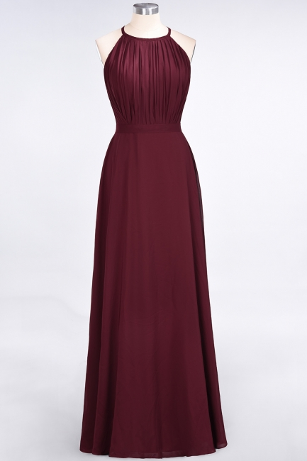 A-line Chiffon Jewel Summer Floor-Length Bridesmaid Dress UK with Ruffles
