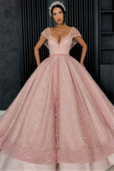 Beading V-Neck Cap-Sleeves Prom Dress UK