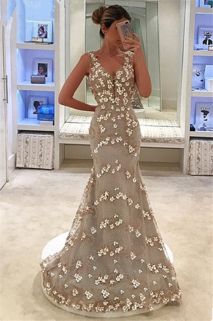 Mermaid Fit and Flare Appliques Summer Straps V-Neck Long Prom Dress UK