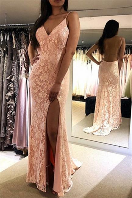 Stunning Thin Straps Appliques Teenage Womens V-Neck Backless Online Prom Dress Sale | Suzhoudress UK