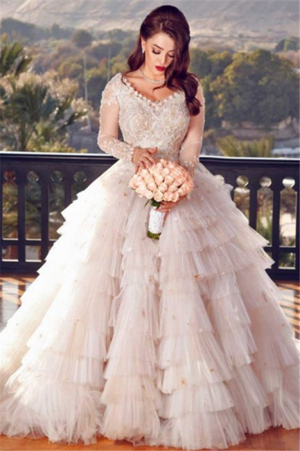 Affordable Pink Tulle Ruffle Lace Appliques Wedding Dresses V-Neck Long Sleeves Rhinestones Bridal Gowns On Sale
