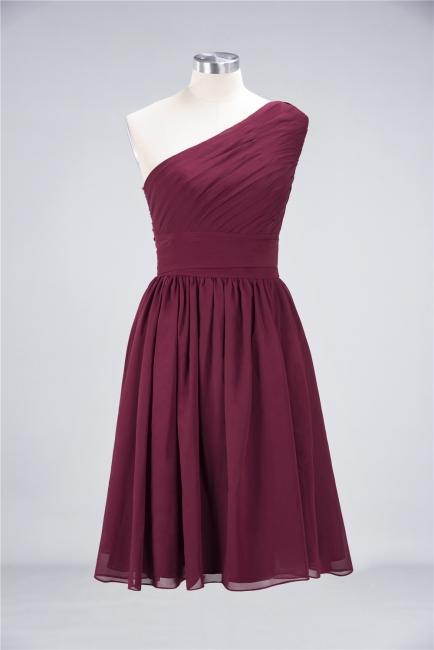 A-line Chiffon One-Shoulder Summer Knee-Length Bridesmaid Dress UK with Ruffles