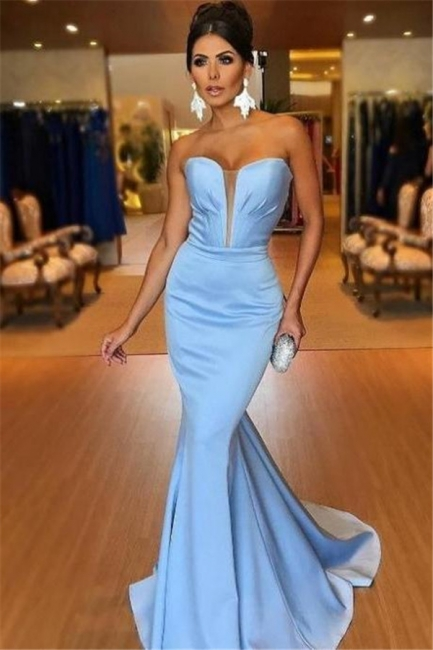 Mermaid Fit and Flare V-Neck Summer Strapless Long Prom Dress UK