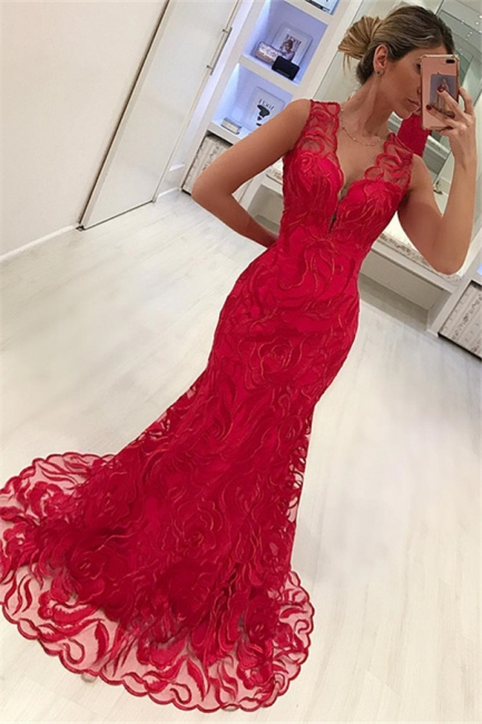 Mermaid Fit and Flare Appliques Straps Summer V-Neck Long Prom Dress UK
