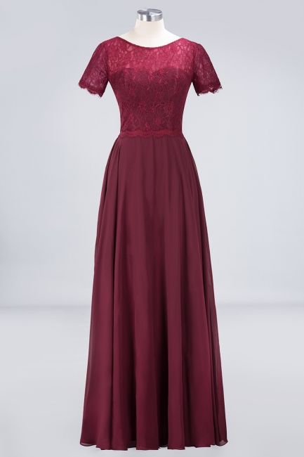 A-line Chiffon Simple Lace Round-Neck Short-Sleeves Floor-Length Bridesmaid Dress UK