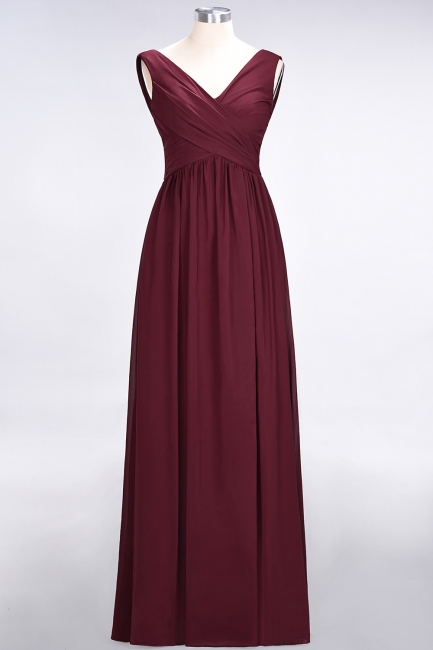 A-line Chiffon Straps V-Neck Summer Floor-Length Bridesmaid Dress UK with Ruffles