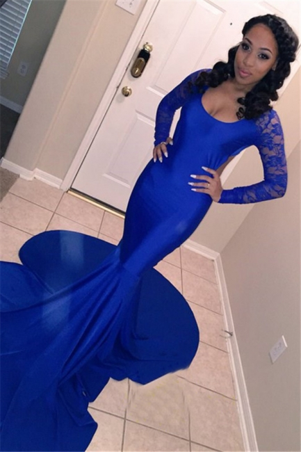Gorgeous Round Neck Long Sleeves Sexy Trumpet/Mermaid Online Prom Dress Sale | Suzhoudress UK