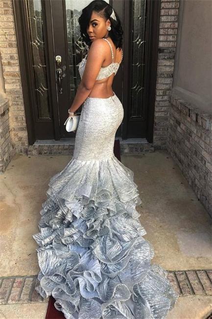 Unique Style Thin Straps Teenage Womens V-Neck Sexy Trumpet/Mermaid Online Prom Dress Sale | Suzhoudress UK