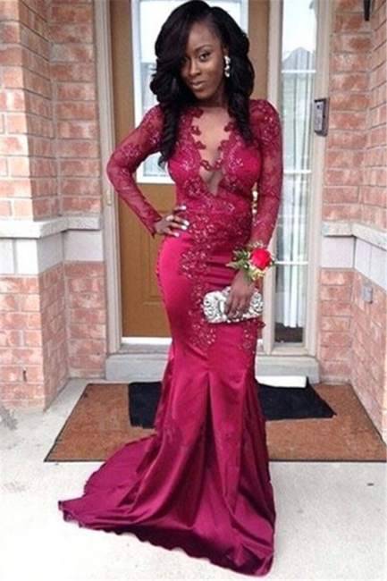 Stunning Womens V-Neck Appliques Long Sleeves Sexy Trumpet/Mermaid Online Prom Dress Sale | Suzhoudress UK