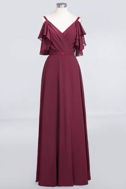 A-line Chiffon V-Neck Straps Summer Ruffles Floor-Length Bridesmaid Dress UK with Pearls