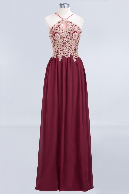 A-line Chiffon Spaghetti-Straps Summer Backless Floor-Length Bridesmaid Dress UK with Appliques