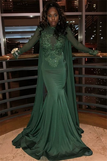 Gorgeous Round Neck Long Sleeves Appliques Sexy Trumpet/Mermaid Online Prom Dress Sale | Suzhoudress UK