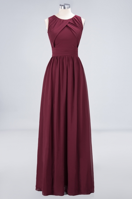 A-line Chiffon Round-Neck Summer Floor-Length Bridesmaid Dress UK with Ruffles