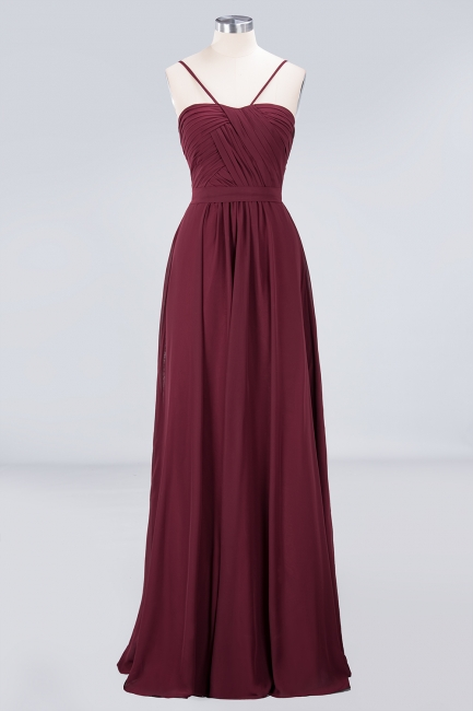 A-line Chiffon Sweetheart Spaghetti-Straps Backless Floor-Length Bridesmaid Dress UK with Ruffles