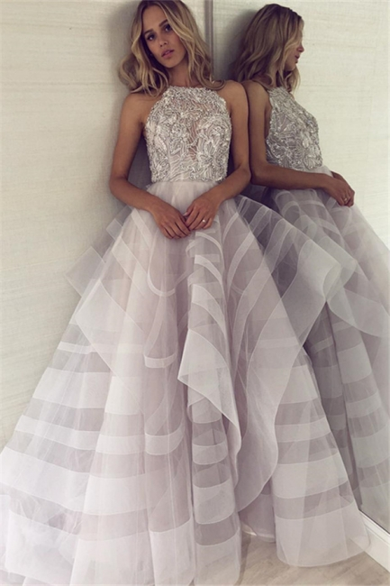 A-line Appliques Halter Summer Long Length Prom Dress UK