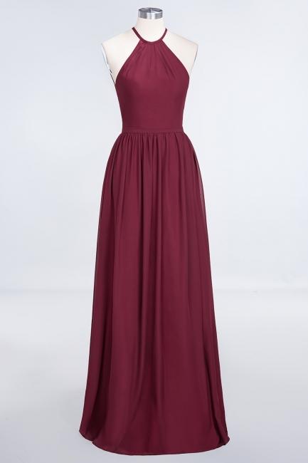 A-line Chiffon Halter Summer Floor-Length Bridesmaid Dress UK with Ruffles