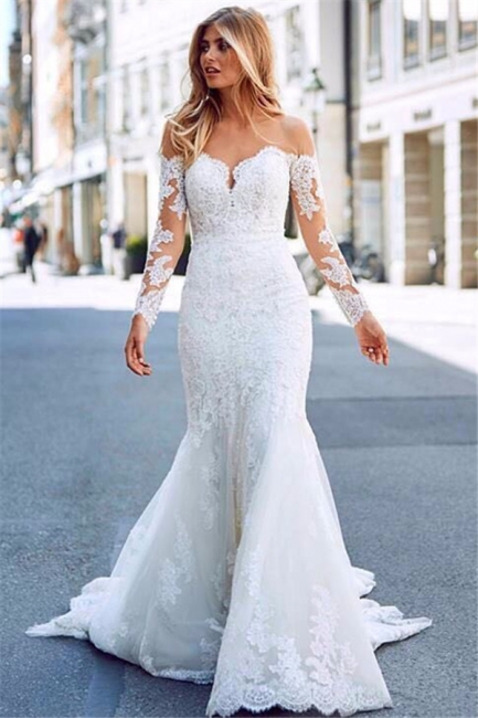 Affordable Mermaid Appliques Long Wedding Dresses Off-the-Shoulder Long Sleeves Bridal Gowns On Sale