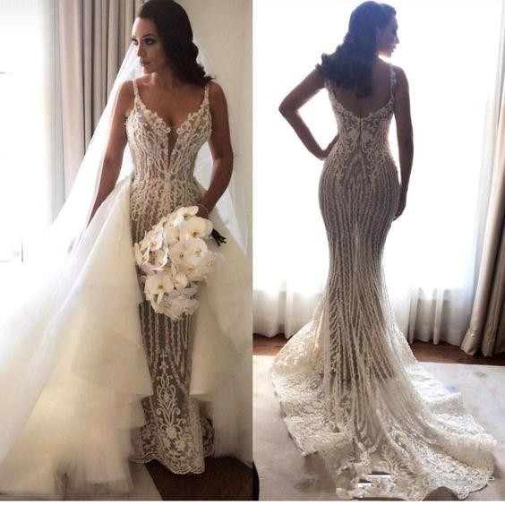 Gorgeous Spaghetti Straps Sleeveless Wedding Dress Mermaid Lace Appliques | Bridal Gowns Online