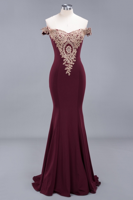 Charming Off-The-Shoulder Floor-Length Mermaid Fit and Flare Appliques Zipper Prom Dress UK