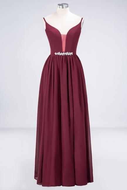A-line Chiffon Appliques Spaghetti-Straps Deep-V-Neck Summer Floor-Length Bridesmaid Dress UK with Ruffles