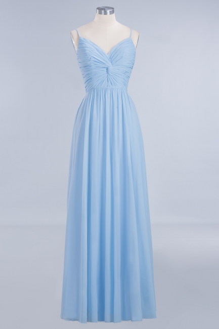 A-Line Chiffon Womens V-Neck Thin Straps Floor-Length Bridesmaid Dresses | Suzhoudress UK