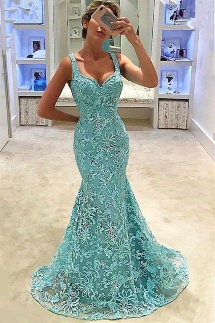Mermaid Fit and Flare Straps Appliques Summer Long Prom Dress UK