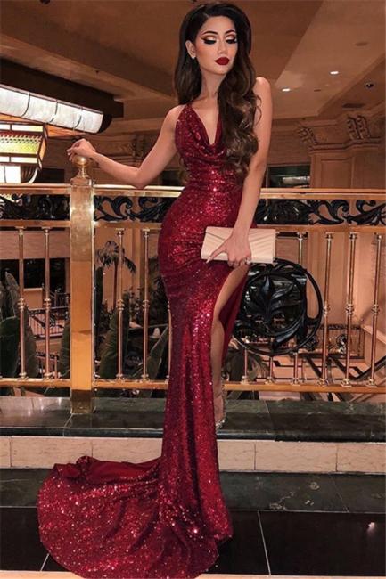 Mermaid Fit and Flare Halter Summer Front-Slipt Long Prom Dress UK