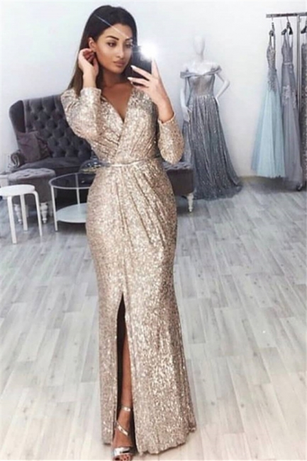 Mermaid Fit and Flare V-Neck Long-Sleeves Front-Slipt Long Prom Dress UK