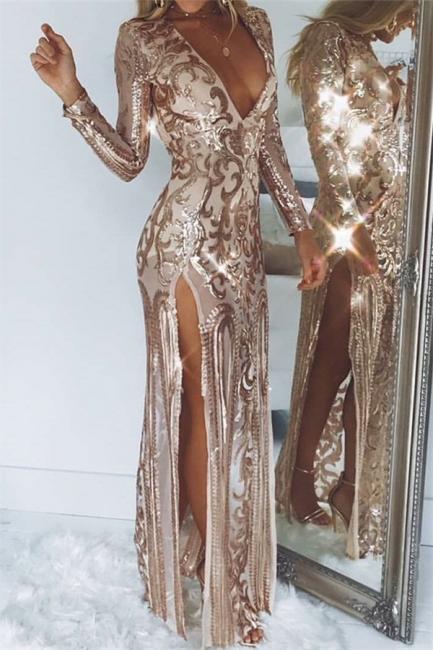 Womens Plunge V-Neck Long Sleeves Front Slipt Best Fit Column Online Prom Dress Sale | Suzhoudress UK