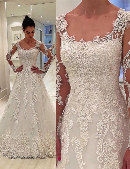 Unique Long Sleeves Appliques Square Neck A-Line Wedding Dress   Bridal Gowns Online