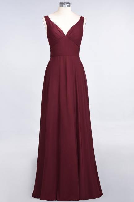 A-line Chiffon V-Neck Straps Summer Ruffles Floor-Length Bridesmaid Dress UK with Open Back
