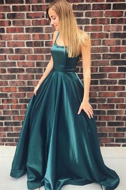 Glamour Square Neck Straps Teenage A-Line Floor-Length Online Prom Dress Sale | Suzhoudress UK