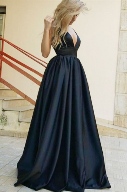 Gorgeous Straps Teenage Womens Plunge V-Neck A-Line Online Prom Dress Sale | Suzhoudress UK