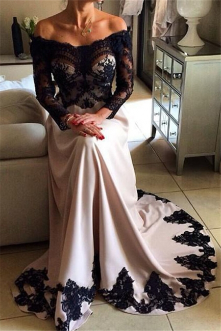 Charming Off-the-Shoulder Appliques Long Sleeves A-Line Online Prom Dress Sale | Suzhoudress UK