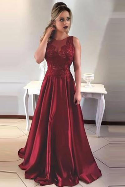 Charming Burgundy Teenage Crew Appliques A-Line Floor-Length Online Prom Dress Sale | Suzhoudress UK